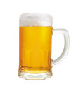 Beer mug a of with froth and slight spill Stock Image