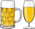 Beer mug and glass Royalty Free Stock Image