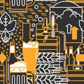 Beer. Seamless pattern in a modern linear style.