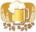 Beer mug and hop Royalty Free Stock Photo