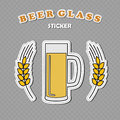 Beer mug with two wheat spikes stickers
