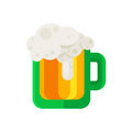 Beer mug vector icon in flat design style. Ale glass cup symbol.