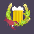 Beer mug with wreath of hops, rye and boiled cancer