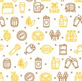 Beer and Oktoberfest Signs Seamless Pattern Background. Vector