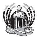 Beer oktoberfest symbol black graphic illustration isolated on white for design Stock Photos