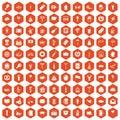 100 beer party icons hexagon orange