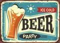 Beer party retro pub sign