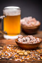 Beer and peanuts Royalty Free Stock Photo