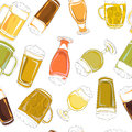 Beer pints pattern Royalty Free Stock Photo