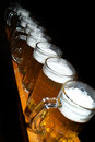 Beer pints in a row on black backround Stock Photography