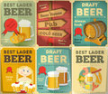 Beer posters set retro collection in vintage design style illustration Royalty Free Stock Photography