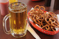 Beer and pretzels Stock Photo