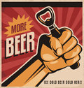 Beer retro poster design with revolution fist more vector concept ice cold sold here vintage template on old paper texture Stock Photo