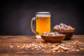 Beer and roasted peanuts Royalty Free Stock Photo