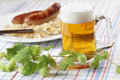 Beer and roasted sausages Royalty Free Stock Photo
