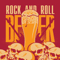 Beer and rock n roll banner with human skulls Stock Photos