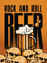 Beer and rock n roll banner with human skulls Royalty Free Stock Photos