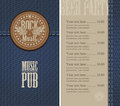 Beer rocknroll menu and price for the pub with live music Stock Photography