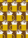 Beer seamless pattern beer mug background mug with foam based alcoholic drink vector ornament Stock Photos