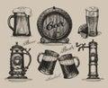Beer set. Sketch elements for oktoberfest festival