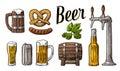 Beer set with tap, class, can, bottle, barrel, sausage, pretzel and hop. Vintage vector engraving illustration for web