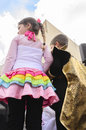 Beer sheva israel march the girl in a pink dress with colored ruffles and boy in black are back purim city of on Stock Image