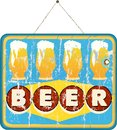 Beer sign grungy style hanging Royalty Free Stock Photography