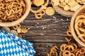 Beer snacks on a wooden table.Bavarian oktoberfest napkin. Top v Royalty Free Stock Photo