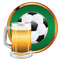 Beer and soccer ball glass of football illustration Stock Image
