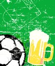 Beer and soccer sign illustration free copy space Stock Photo