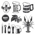 Beer symbols set of black signs and in vector Royalty Free Stock Photos