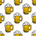 Beer tankards or mugs seamless pattern retro yellow with fresh frothy in cartoon style for wrapping paper oktoberfest party Stock Photos
