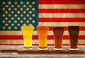 Beer tasting with american flag Royalty Free Stock Image