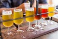 Beer tasting of many different types of beers Royalty Free Stock Photography