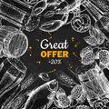 Beer vector chalkboard discount banner. Alcohol beverage hand drawn special offer.