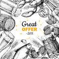 Beer vector discount banner. Alcohol beverage hand drawn special offer