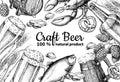 Beer vector frame banner. Alcohol beverage hand drawn illustration. Beer glass, mug