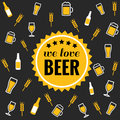 Beer vector icons background - bottle, glass, pint Royalty Free Stock Photo