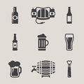 Beer vector icons set bottle, glass Royalty Free Stock Photo