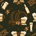 Beer vintage seamless pattern