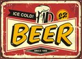 Beer vintage tin sign Royalty Free Stock Photo