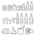 Beer and wine drink icon set, vector illustration Royalty Free Stock Photo