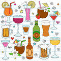 Beer Wine and Mixed Drinks Doodle Design Elements Royalty Free Stock Photo