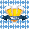 Beers abstract and oktoberfest text on special blue and white background Stock Photography