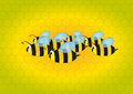 Bees with beehive illustration of cartoon in background Stock Image