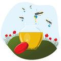 Bees carrying honey to the pot Royalty Free Stock Photos