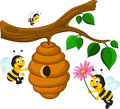 Bees cartoon holding flower and a beehive Royalty Free Stock Photo