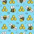 Bees cartoon pattern seamless vector flat background