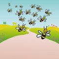 Bees in the countryside (vector) Royalty Free Stock Images