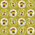 Bees and flowers seamless pattern. Royalty Free Stock Photo
